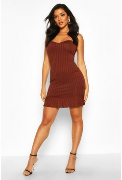 Womens Champagne Rib Bandeau Frill Hem Mini Dress