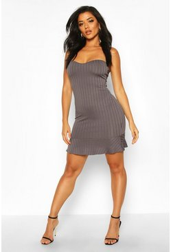 Gun metal Rib Bandeau Frill Hem Mini Dress