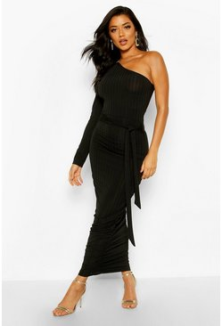 Womens Black Rib One Shoulder Belted Midi