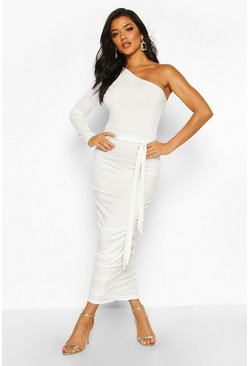 Womens Champagne Rib One Shoulder Belted Midi