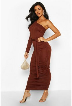Womens Chocolate Rib One Shoulder Belted Midi