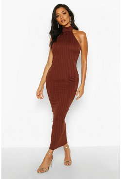 Womens Chocolate Rib Halterneck Midaxi Dress