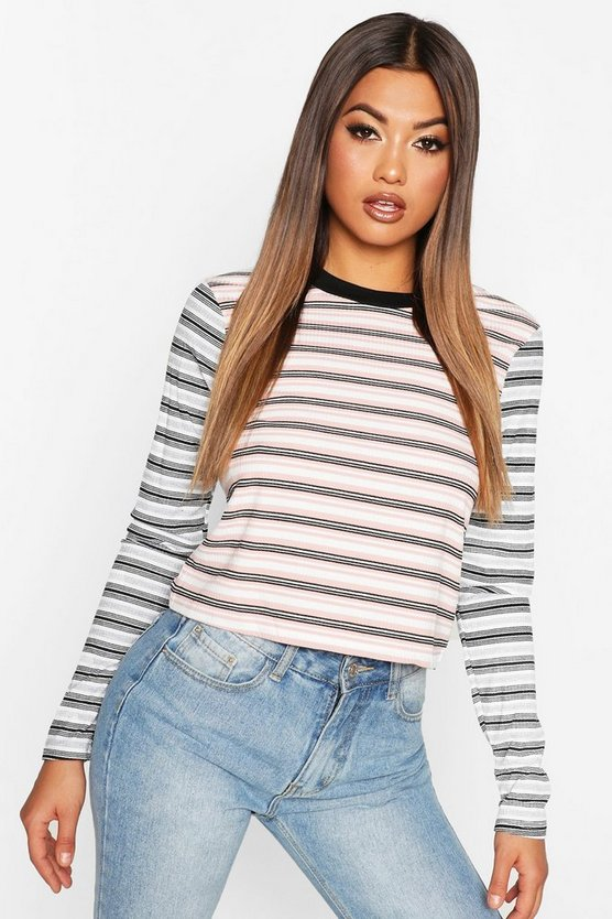 Blush Contrast Striped Long Sleeve Top