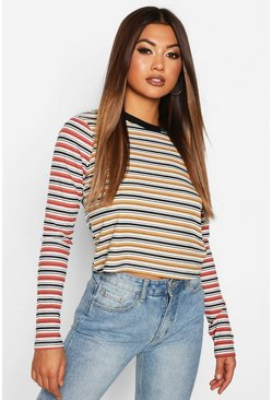 Womens Mustard Contrast Striped Long Sleeve Top