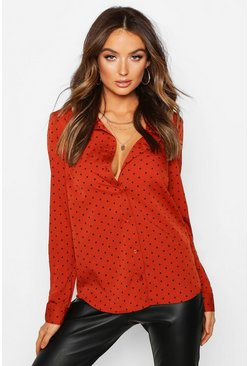 Womens Rust Polka Dot Button Up Long Sleeve Shirt
