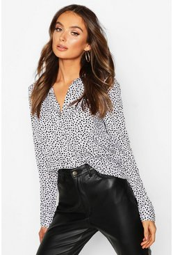 Womens Cream Heart Print Long Sleeve Button Up Shirt