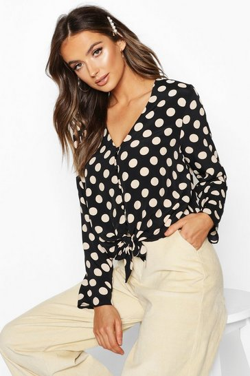 Womens Black Polka Dot Long Sleeve Button Up Tie Front Top