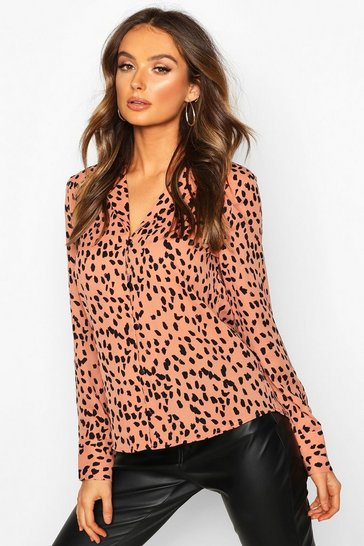Womens Orange Smudge Print Button Up Long Sleeve Blouse