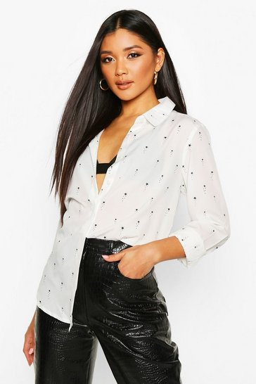 White Star Print Button Up Long Sleeve Shirt
