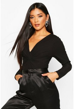 Black Twist Front Low Cut Ribbed Bodysuit