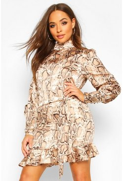 Snake Print Cowl High Neck Mini Dress, Brown, Donna