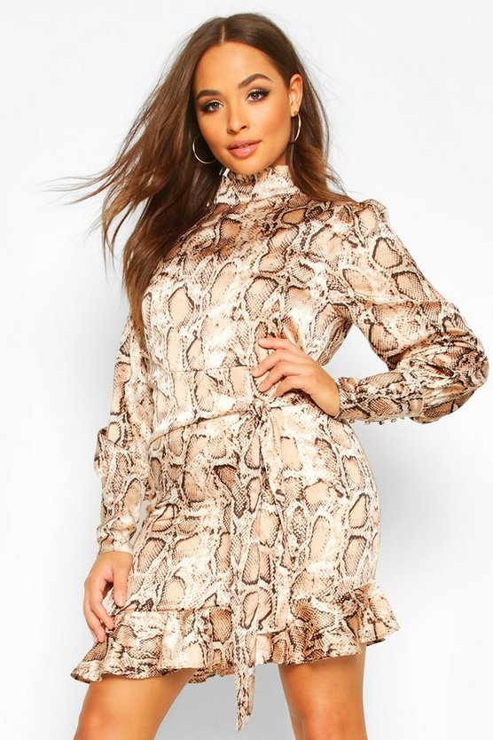 Snake Print Cowl High Neck Mini Dress