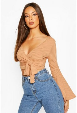 Camel Cropped Rib Flare Sleeve Top