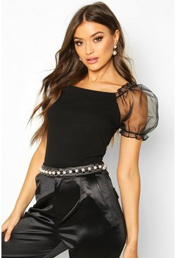 Womens Black Crepe Square Neck Organza Sleeve Top