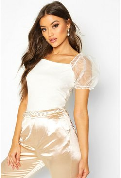 Womens White Crepe Square Neck Organza Sleeve Top