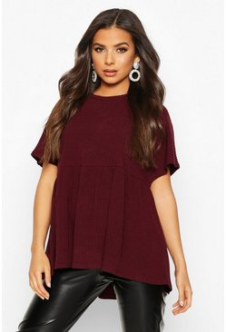 Womens Wine Soft Ribbed Smock Top