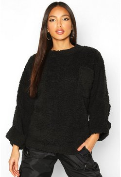 Black Oversized Slouch Teddy Sweat With Pocket