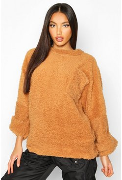 Womens Camel Oversized Slouch Teddy Sweat With Pocket