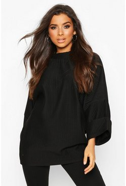 Oversized Slouch Pocket Top In Jumbo Jersey, Black