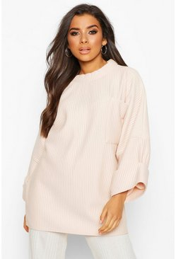 Nude Oversized Slouch Pocket Top In Jumbo Jersey