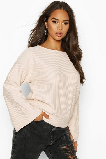 Womens Nude Crew Neck Slash Sleeve Sweat In Jumbo Jersey