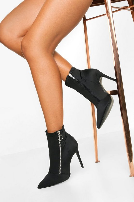 Black O Ring Zip Side Stiletto Heel Boots