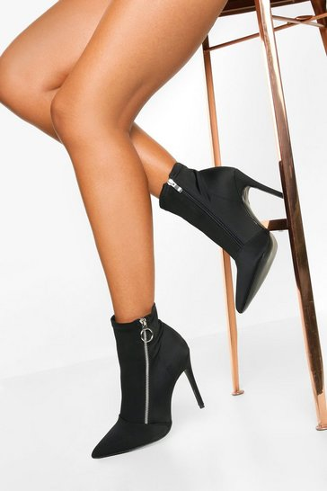 Womens Black O Ring Zip Side Stiletto Heel Boots