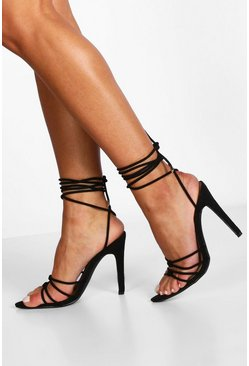 Womens Black Knot Detail Wrap Strap Heel Two Parts
