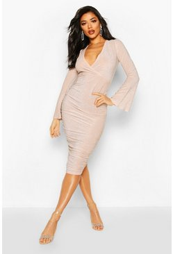 Womens Blush Metallic Wrap Front Ruched Midi Dress