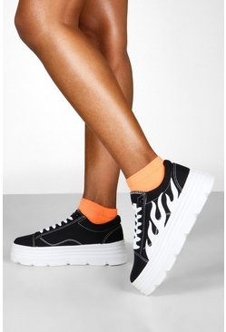 Womens Black Cleated Platform Flame Detail Trainers