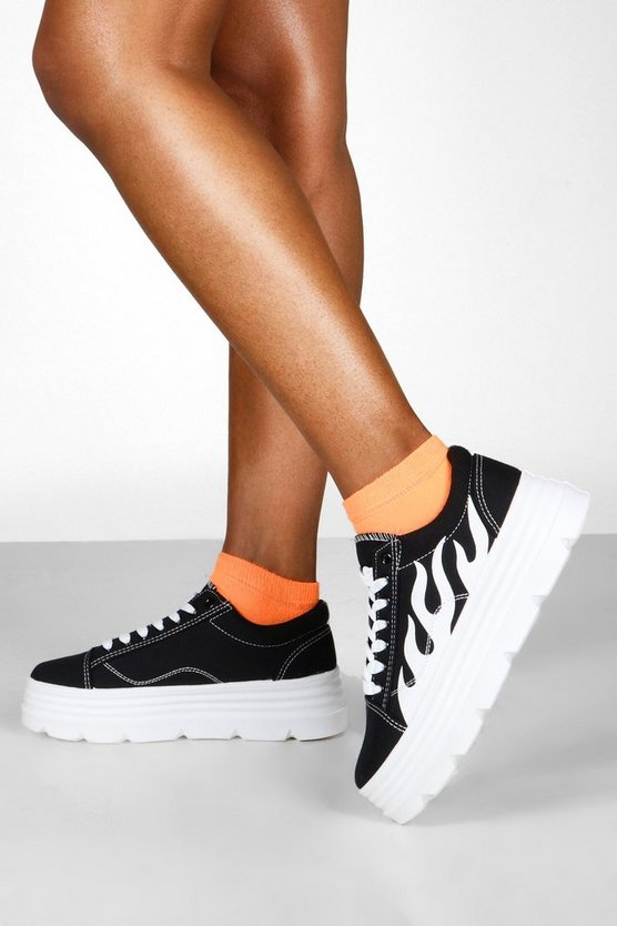 Cleated Platform Flame Detail Trainers