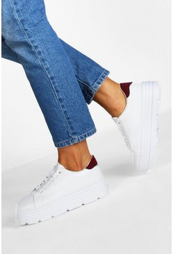 Womens White Cleated Sole Platform Trainers