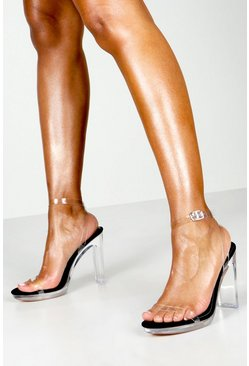 Black Clear Platform Two Part Heels