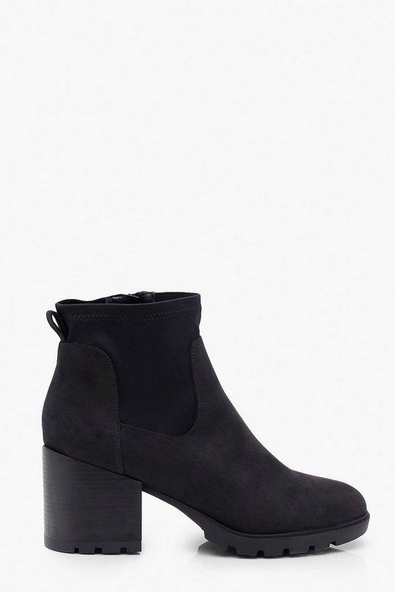 Block Heel Round Toe Shoe Boots