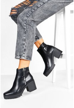 Dam Black Zip Side Block Heel Chelsea Boots