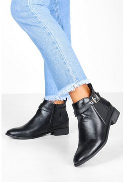 Womens Black Buckle Detail Pull On Chelsea Boots