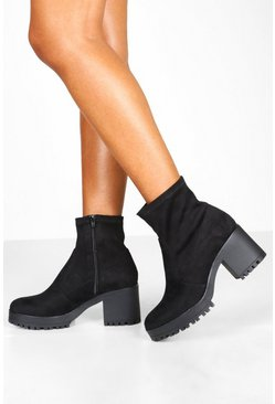 Womens Black Bock Heel Round Toe Sock Boots