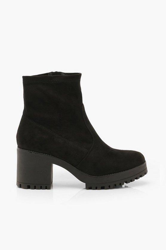 Bock Heel Round Toe Sock Boots