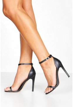 Womens Black Stiletto Heel Two Parts