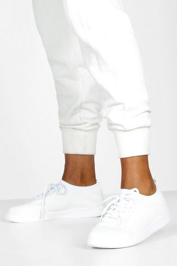Womens White  Basic Lace Up Knitted Trainers