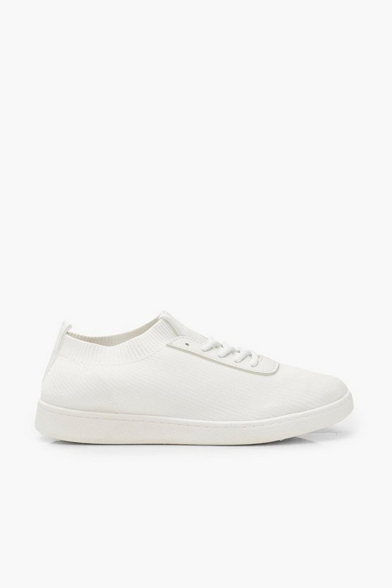 Basic Lace Up Knitted Trainers