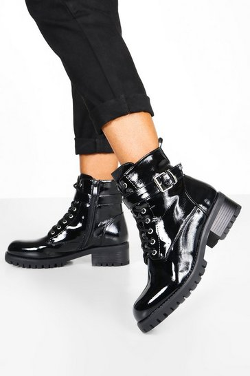 Black Buckle Detail Chunky Lace Up Hiker Boots