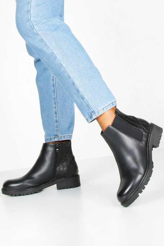 Womens Black Croc Panel Chunky Chelsea Boots