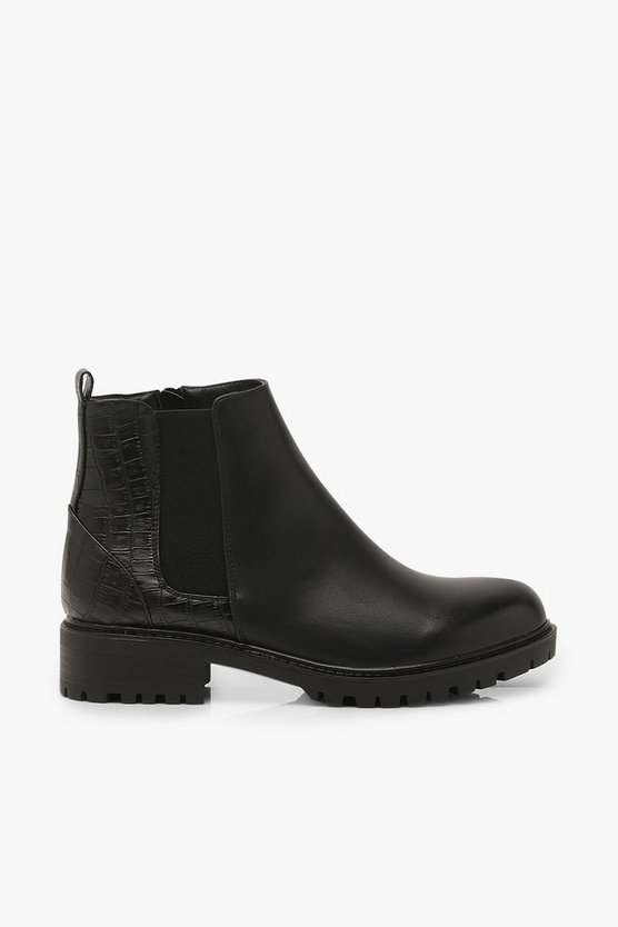Croc Panel Chunky Chelsea Boots