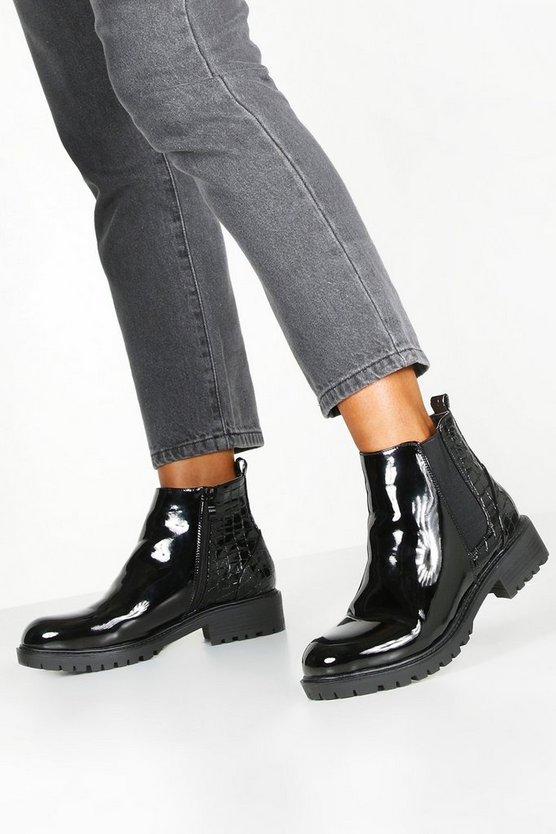 Croc Panel Patent Chunky Chelsea Boots