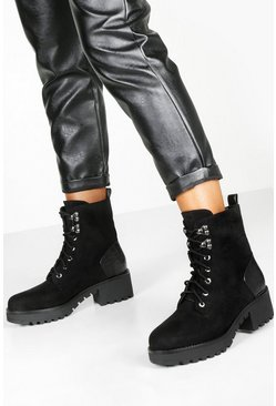Dam Black Croc Panel Block Heel Hiker Boots