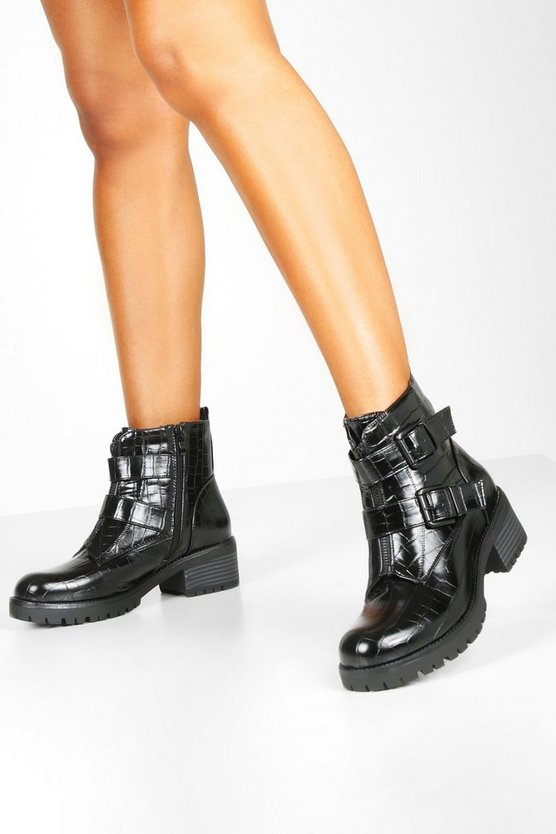 Black Croc Buckle Detail Zip Front Biker Boots