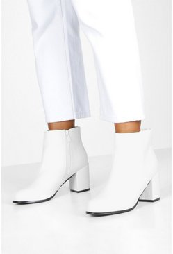Womens White Croc Panel Block Heel Shoe Boots