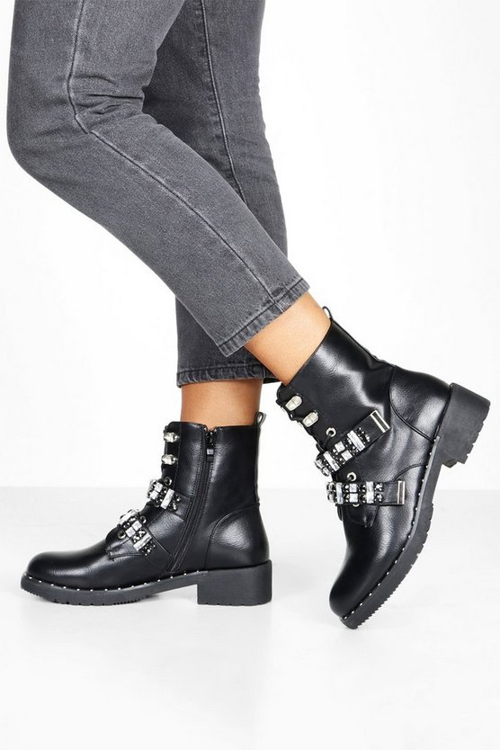 Black Diamante Strap Lace Up Hiker Boots