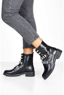 Womens Black Diamante Strap Lace Up Hiker Boots